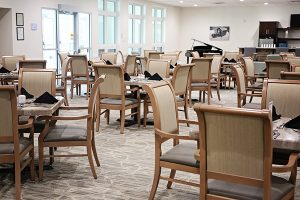 The Dining Room has plenty of seating for residents to enjoy great food and socialize