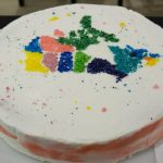 A cake is decorated with a map of Canada with each province decorated a different color of sugar.