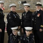 The 60 Swiftsure Sea Cadets gathered for a photo at the Rotary Villas Canada Day Celebration 2017