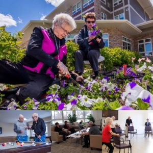 A collage of photos including two ladies planting flowers, two men playing billiards, a group gathered visiting over coffee in the front room of Rotary Villas, and residents stretching with the help of a chair.