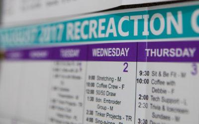 Activity Calendar with Newsletter & Menu Calendar – May 2018
