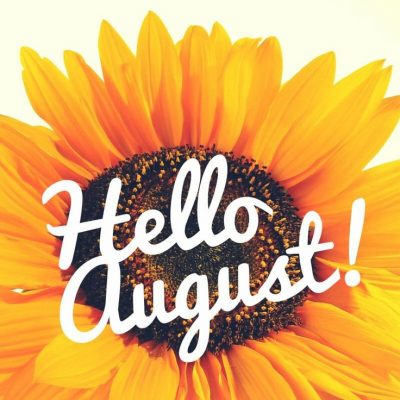 """""""Hello August"""" with a sunflower in the background"""