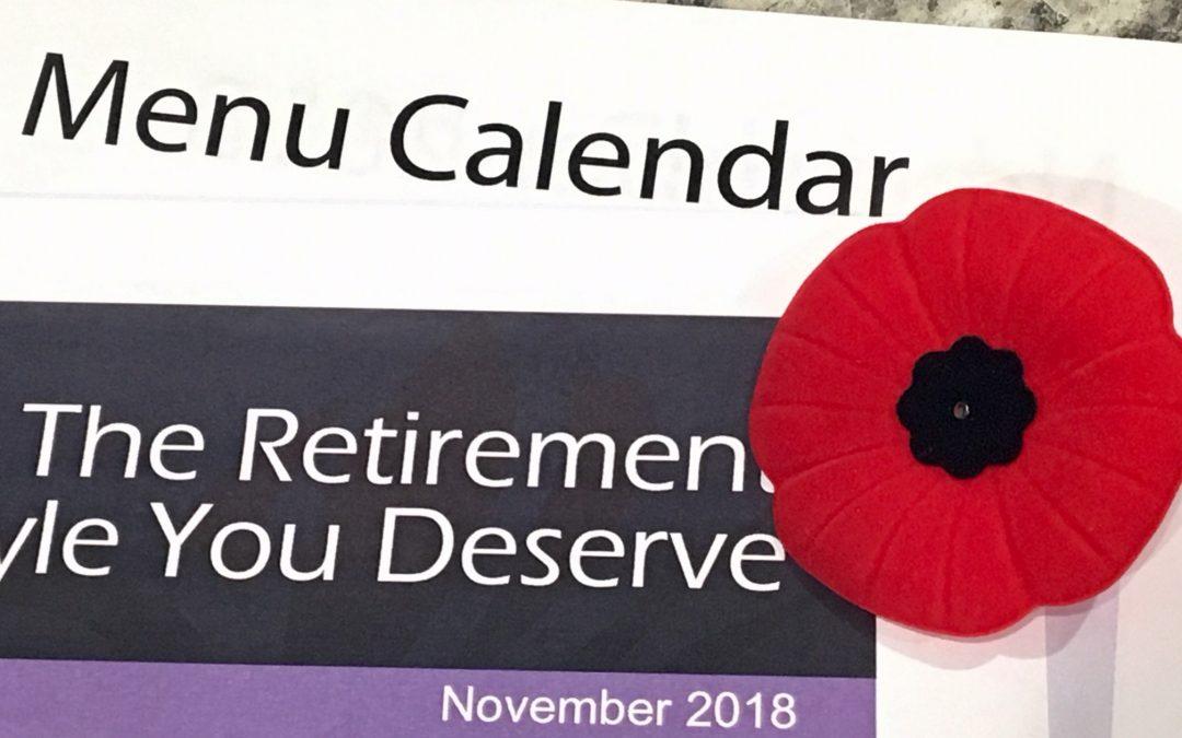 Activity Calendar with Newsletter & Menu Calendar — November 2018